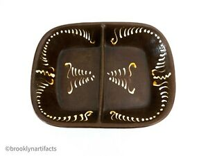 Antique-Redware-Pottery-Brown-Glaze-amp-Ivory-Slip-Serving-Bowl-Tray-19th-C