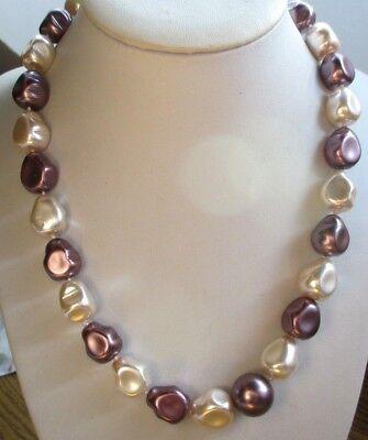 Bello Collier Perles Baroques En Résine Nacrée 2 Tons Beige Rosé Mauve Bijou Rétro 702
