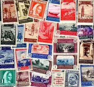 """Maroc Espagnol - Spanish Morocco 100 timbres différents - France - Commentaires du vendeur : """"lot de timbres différents"""" - France"""