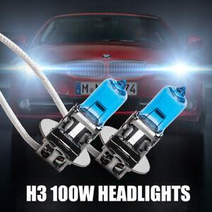 2X-H3-12V-100W-6000k-Car-Head-Light-Fog-Lamp-Globe-Bulbs-Headlight-Halogen-White