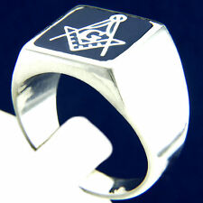 New Mens Sterling Silver Masonic Ring Square G & Pillars Freemason Ring Size 11
