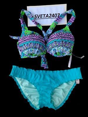 NWT VICTORIA/'S SECRET Strappy Cross-back Triangle Bikini Top Black Bali Zig Zag