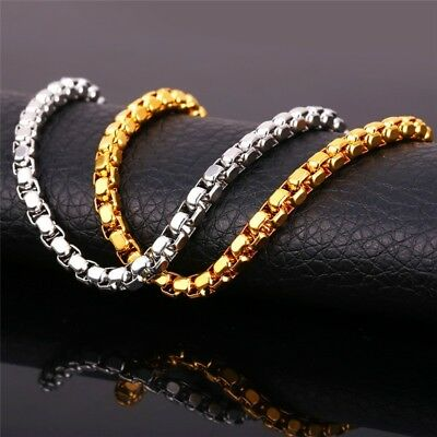 Realistisch Deluxe Erbskette Edelstahl Silber Gelbgold Vergoldet Halskette Herren Damen Edel