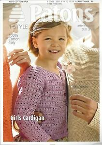 Vat Free Knitting Pattern Only Patons Girls Childrens Cardigan Cardi