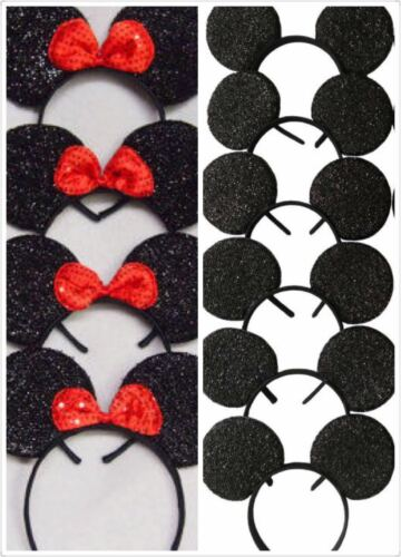 24pc Mickey Minnie Mouse Ears Headband Black Red//Pink Bow Party Favors Costume