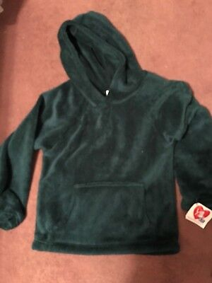 Made With Love And Kisses Green Fleece Pullover Hoodie Size 12-14 Evident Effect