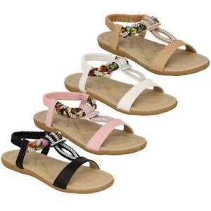 d015eddc5452 Ladies Flat Slip On Sandals Womens Diamante Flowers Sling Back Open ...