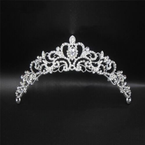 Women Girls Crown Crystal Headband Headwear Ornament Rhinestone Hair Band UK