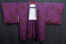 Vintage Japanese Dark Purple Silk Blend Kimono Haori Jacket 'Circles' 10-14