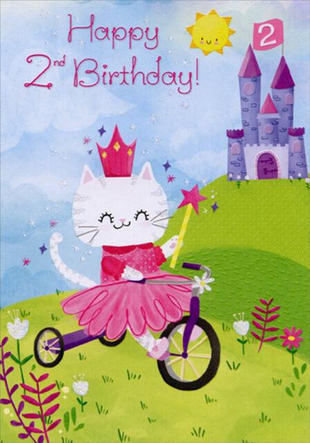 Birthday Girl birthday card kitten with tiara 19cm x 13.25cm