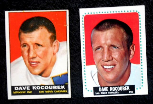 2 San Diego Chargers Dave Kacourek 1960's Football Trading Cards - 1 Rookie