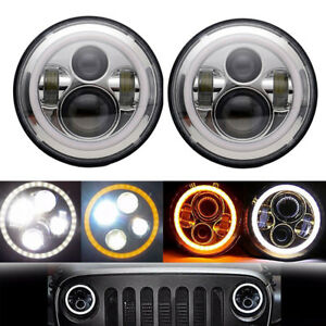 For-Land-Rover-Defender-7-034-LED-Headlights-Angle-eyes-x2-E-DOT-Approved-Chrome