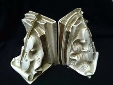 Vintage Universal Statuary 1964 White Music Books and Voilin Bookends~No Box