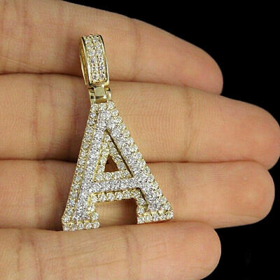 18k Yellow Gold Finish V Initial Custom 3D Letter 2Ct Round Cut Diamond Pendant