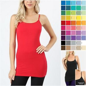499fda298a BUILT IN SHELF BRA CAMISOLE Cotton Spaghetti Straps Long Tunic Tank ...