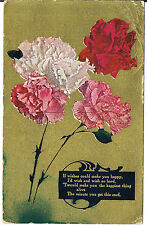 *GREETINGS POSTCARD WITH CARNATIONS FROM HOLDER USA 1910