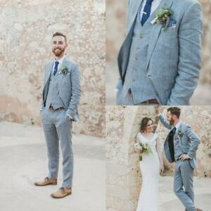 Men's Suit Linen Suits Beach Wedding Suit in 2020 | Plus