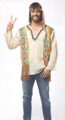 60/'S 70/'S ADULT MENS MALE PEACE RETRO HIPPIE FRINGE COSTUME VEST BROWN STANDARD