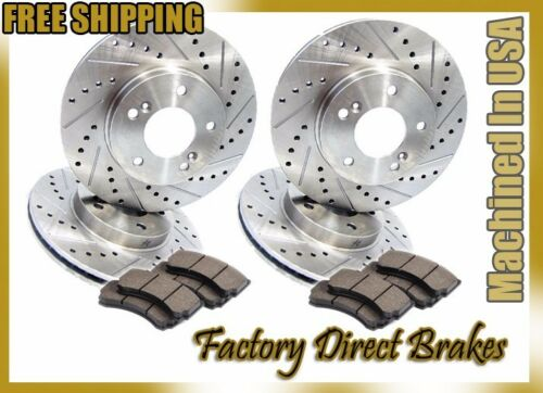 Front /& Rear All 4 Drilled /& Slotted Brake Rotors /& Ceramic Brake Pads Evo 8 9