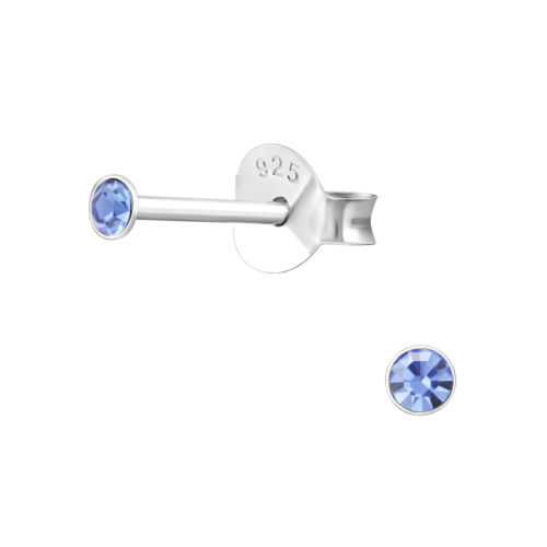 925 Sterling SILVER Petite Studs 2mm Earrings CZ Crystal Small Girls Ladies Tiny