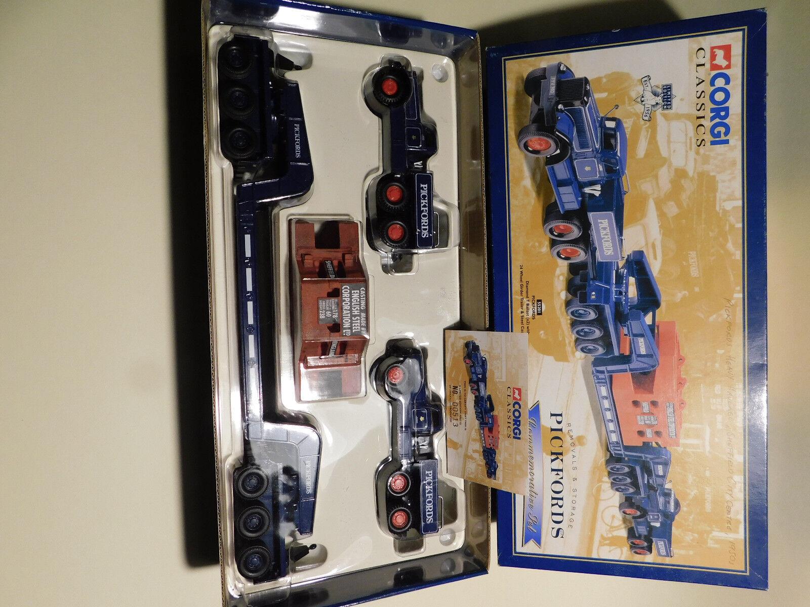 1/50 Corgi 55201-Pickfords Diamante T lastre & Viga Remolque con carga