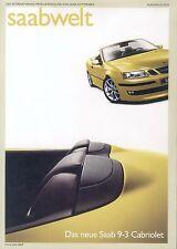 Saabwelt Prospekt 2 03 Saab 9-3 Cabriolet 9-5 Aero brochure 2003 Auto PKWs