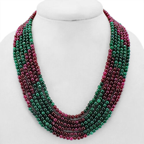 Details about  /WORLD CLASS QUALITY 469.00 CTS EARTH MINED RUBY /& EMERALD 6 LINE BEADS NECKLACE