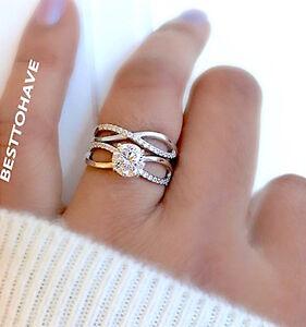 Senoras-plata-esterlina-925-Anillo-de-compromiso-boda-de-Infinity-Conjunto