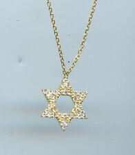 925 GOLD VERMEIL PAVE CZ STAR OF DAVID PENDANT NECKLACE