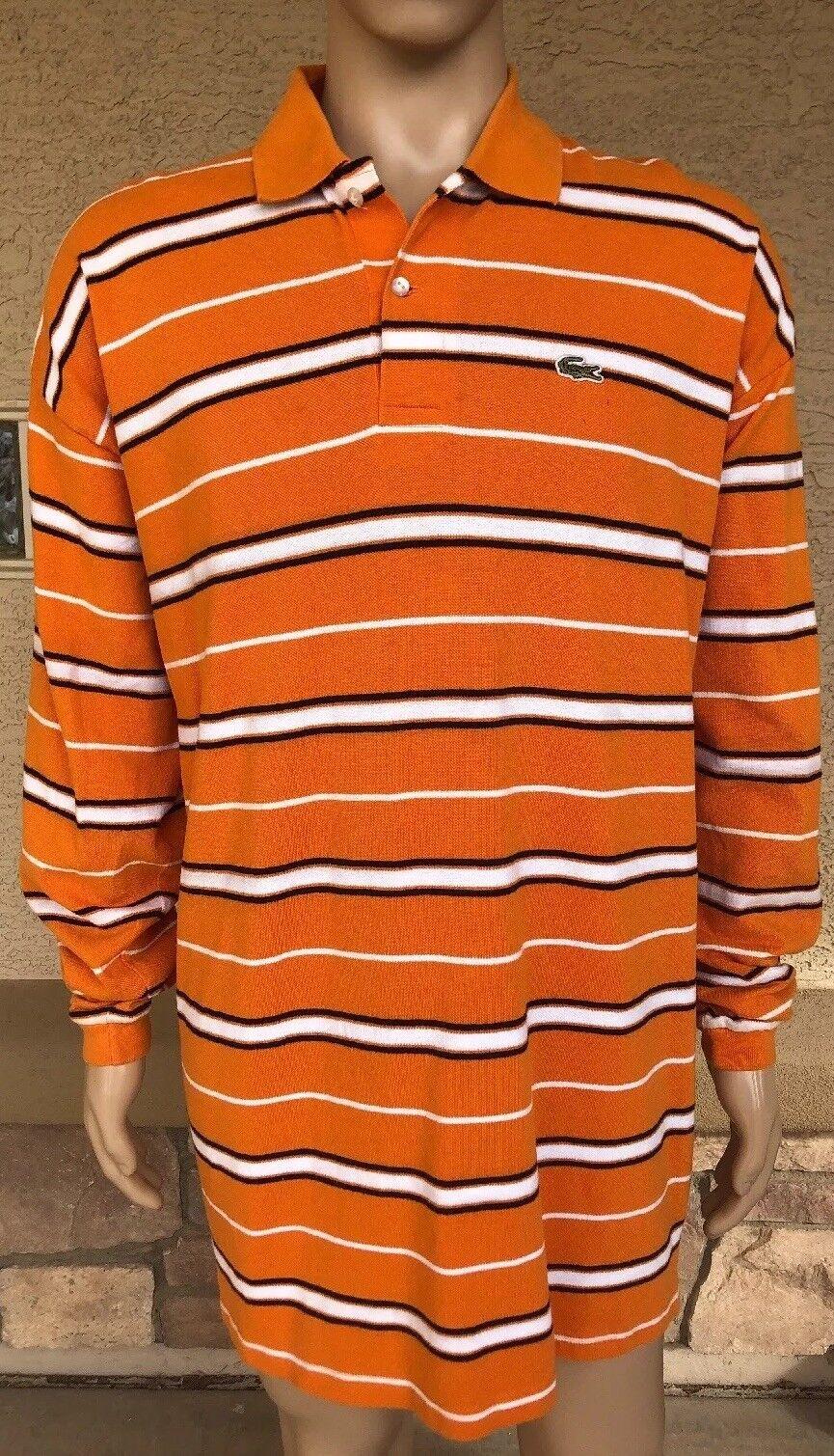 ad8edce79 Vintage Lacoste orange   White Retro Striped Long Sleeve Polo Shirt Size 12