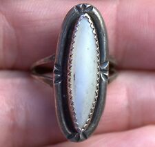 Handmade Old Pawn Navajo Sterling Silver & Shell Ring By Billy Slim