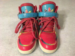 Details about Adidas Brand Women s Ladies Bright Shiny Pink Blue Rainbow  Shoes Size 6 3a84c727d