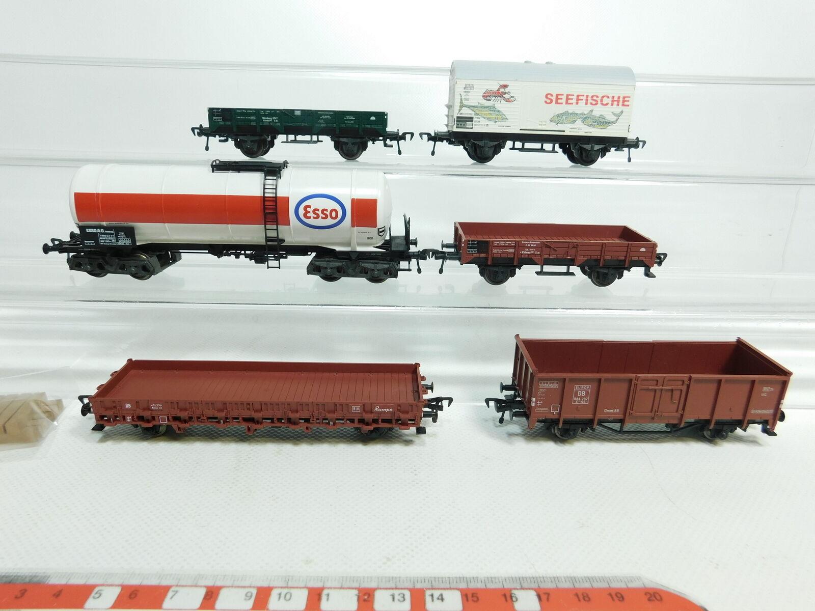 Bi531-1 6x FLEISCHMANN H0/DC CARRO MERCI DB PESCI MARINI + Esso + kran-beiwagen