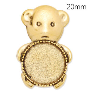 10 Round Shallow Bezel Brooch Bear Pin Blank Bases Safety Brooch Findings 20MM