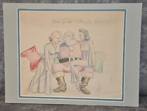 034-Santa-Girls-034-Antique-Colored-Pencil-Illustration-039-40-039-s-12-034-x16-034-Signed-CL