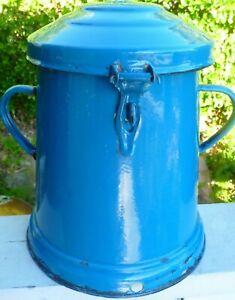 Vintage-GOULASH-ASH-POT-with-Attached-LID-ENAMELWARE-BUDAFOK-Hungary-Blue