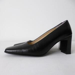 FILIPPO-RAPHAEL-Women-039-s-Shoes-Size-38-5-Black-Leather-Pumps-Courts-Made-in-Italy
