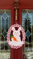 Easter Bunny Door Wreath Wall Hanging Decor Swag Floral Pick Rabbit Egg Basket