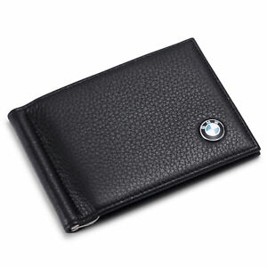 08f31a10 Details about new BMW Men Money Clip Wallet Black Genuine Leather 6 Credit  Card Holder ID Case