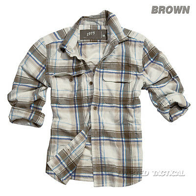 Surplus Woodcutter Mens Casual Long Sleeve Checked Lumberjack Shirt 100% Cotton