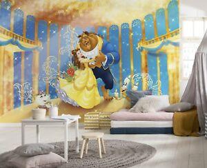 Papier Peint 368x254cm Beauty And The Beast Mural Giant Poster Disney Jaune-afficher Le Titre D'origine Art De La Broderie Traditionnelle Exquise