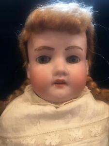 "Antique German Bisque Doll Armand Marseille 370 Big 23"" Kidskin Fur Brows Beauty"