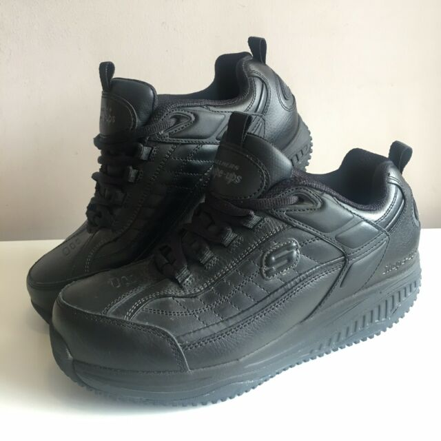 Skechers WORK Shape Ups SLIP RESISTANT BLACK LEATHER Trainers Shoes UK 7.5 Toe