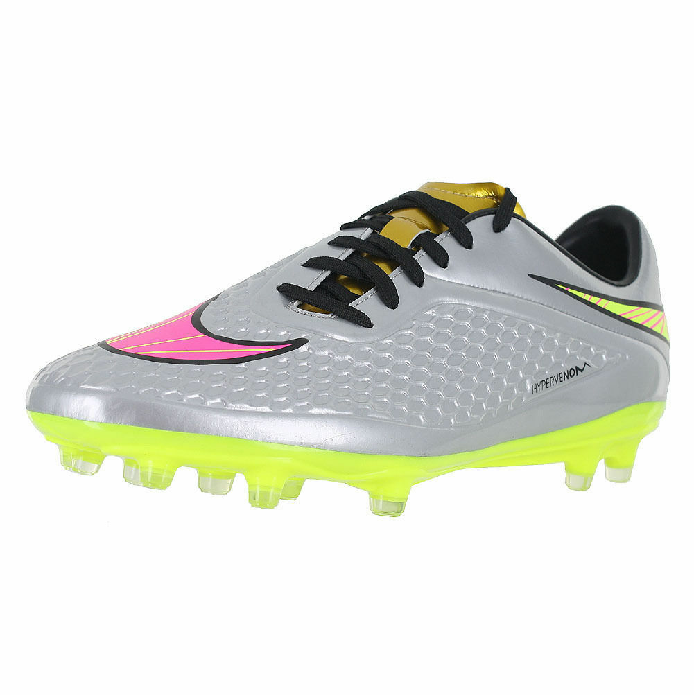 New Nike Men's Hypervenom Phelon FG Soccer Cleats Silver Volt 677585-069