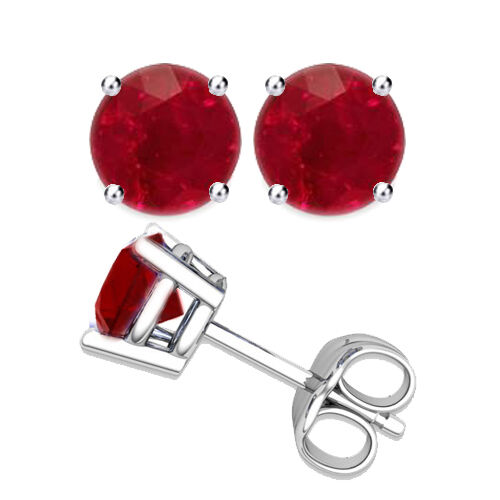 Solid 14k White Gold Round Ruby 4 Prong Basket Gemstone Stud Earrings