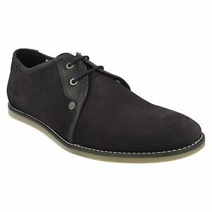 mens penguin lace up low chukka navy suede smart casual