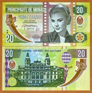 Monaco-2018-20-Francs-Private-Issue-Polymer-Banknote-Clear-Window-Grace-Kelly