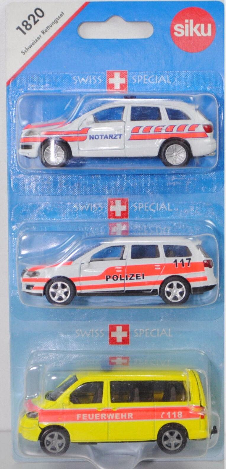 SIKU  SUPER 1820 Rettungsset. AUDI, VW Passat & VW Multivan spécial modèle Suisse  marque