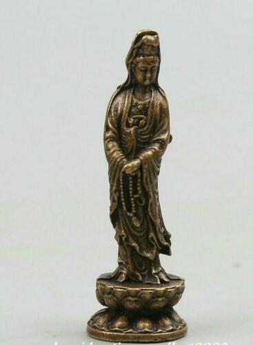 """2/"""" Chinese Bronze Buddhism Stand Lotus Kwan-yin Guan Yin Goddess Small Statue 观音"""