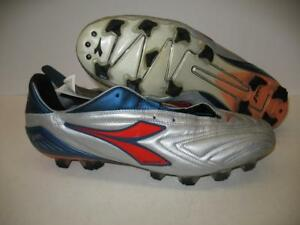 Diadora Attiva Plus RTX 12 Leather Soccer Shoes Cleats Silver Red ... 1eaa84cd843